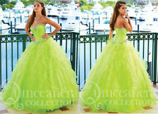 Sweet 15 16 Lime Green Quinceanera Dresses Prom Pageant Formal Ball Wedding Gown