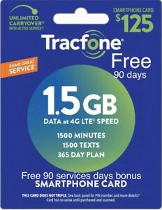 TracFone 1 Year Service Plan - 365 Days + 1500 Minutes/ 1500 Text/ 1.5 GB Data