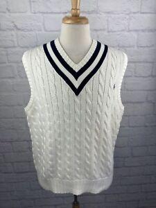 VTG Polo Ralph Lauren 100% Wool White Cable Knit V Neck Cricket Sweater Vest XL