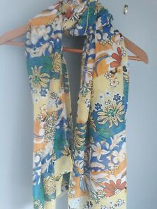 YELLOW MULTI FLORAL FLOWER PRINT SUMMER SCARF WITH COTTON BN FREE UK P&P