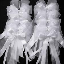 10X WEDDING PARTY DECORATION LARGE CAR PEW BOW PURE WHITE RIBBON & ORGANZA AU