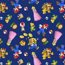 Nintendo Super Mario 2 Character Toss Navy 100% cotton Fabric by the yard