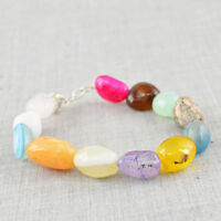 251.00 Cts Earth Mined Multicolor Multi Gemstone Untreated Real Beads Bracelet