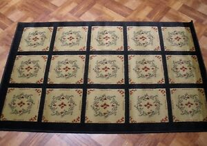 Country Olde Stencil Design Thick Jute Area Rug