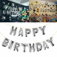 Self Inflating Happy Birthday Banner Foil Balloon Bunting Gold Silver Letters SD