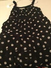 ANN TAYLO LOFT Size 4 Black / White Ruffle Dress Lined Sleeveless Empire NWOT