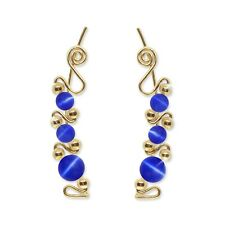 Ear Sweeps Pins Climbers Vines Earring Gold w/ Royal Blue Fiber Optic Bead 243