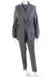 Zang Toi Womens Cashmere Plaid Blazer Slim Cut Pants Suit Gray Size 10