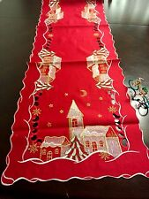 "16x72""Embroidered Christmas Tablecloth Snowy House Table Runner Home party decor"