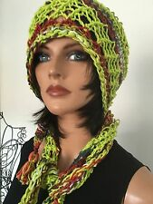 Hand Knit Cotton Scarf Triangle Shawl Bandana Bohemian