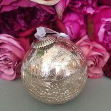 Antico ROUND MERCURIO crackle glass bauble, pesca / rosa / argento decorazione natale