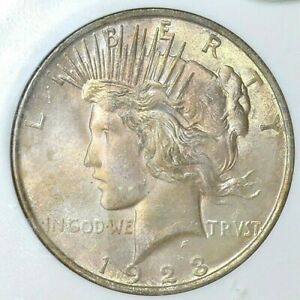 """1923-P NGC MS64 """"CAC"""" (OFH) PEACE $$  NICE COLORFUL RAINBOW TONING ***"""