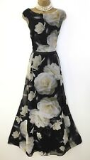 PHASE EIGHT Maxi Dress 18 Black Floral Gown Full Length Evening Long Cocktail