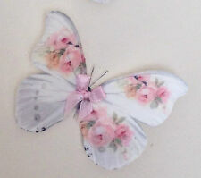 Butterfly Bedroom Decorations 4 Pink White 3D Nursery Baby Girls Satin Bows