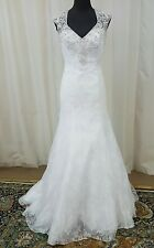 NEW Mori Lee Bridal Gown Wedding Dress 2604 White Fit Flare Mermaid Trumpet Lace