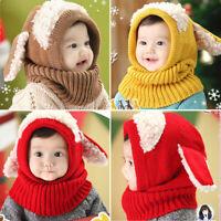 Winter Toddler Baby Kids Boy Girls Warm Knitted Beanie Cap Hat Scarf Set Earflap