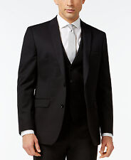 $795 BAR III Men BLACK SLIM-FIT 2 PIECE BUTTON WOOL SUIT JACKET BLAZER PANTS 34S