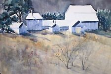 Dorthy Primm Gloucester MA artist watercolor landscape of houses at night