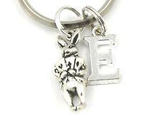 Personalised 3D Alice In Wonderland Rabbit Key Ring Any Initial, Velvet Gift Bag