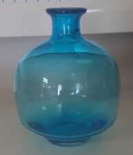 CONTEMPORARY STUDIO ART SAPPHIRE TURQUOISE HANDCRAFTED ROUND BOTTLE OR BUD VASE