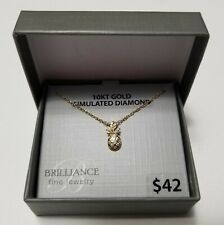Brilliance 10k Gold Diamond Pineapple Pendant With Gold Filled Chain New
