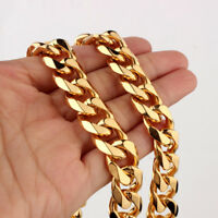 "Hot 7-40"" 15mm 18K Gold Stainless Steel Mens Curb Cuban Chain Necklace Bracelet"