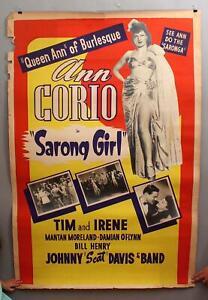 RARE 1943 Large 40x60 Burlesque Movie Poster Sarong Girl Queen Ann Corie