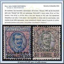 1909 UffIci Postali Estero Levante Durazzo n. 7/8 Usati Certificato