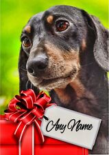 DACHSHUND CHRISTMAS or BIRTHDAY CARD  Personalised & illustrated inside & out