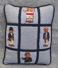 Pillow made w Ralph Lauren Polo Teddy Bear Blue Pin Stripe Fabric 9x12 cording