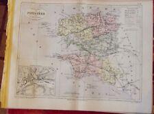 Old Map 1900 France Département Finistère Quimper Morlaix Brest Ouessant Crozon
