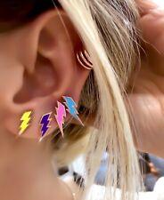 Neon Lightning Stud Earring 925 Solid Sterling Silver Rose Gold Vermeil