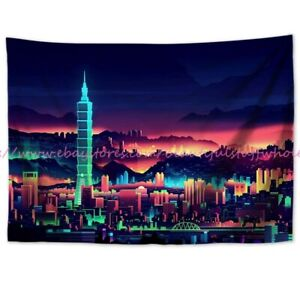 vaporwave city scenery tapestry cloth poster wall decor art