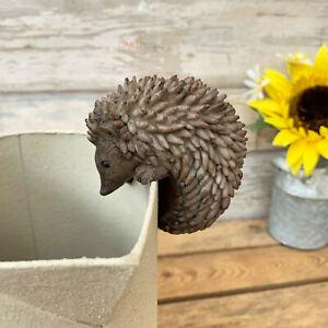 Vintage Climbing Hedgehog Outdoor Garden Plant Pot Hanger Decoration Ornament