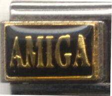 1 Amiga Spanish Word For Friend 9MM Stainless Steel Italian Charm Brand New!