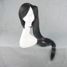 BLAZBLUE LITCHI Black 150cm Long Ponytail Straight Anime Cosplay Wig
