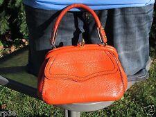 Ronay Vtg Orange Pebbled Leather Small Evening Satchel Handbag Purse Kiss lock