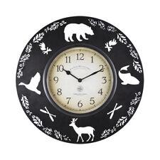Cabin Pine Lodge Wildlife Round Metal Wall Clock, Rich Black, Modern Rustic -NEW