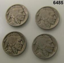 4 BUFFALO NICKEL G-VG 1915, 1917, 1919, 1921! #6485