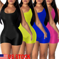 Women's Sport Yoga Gym Rompers Shorts Suit Fitness Workout Jumpsuit Bodysuits US