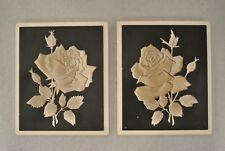 VTG Mid Century Modern Chalkware Rose Plaque 2 Wall Hanging Richter Plaster 1961