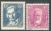 France 1933/34 Victor Hugo claret 1f.25c Jacquard grey-blue 40c mint SG518/520