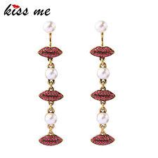 KISS ME Simulated Pearls Rhinestone Red Lips Long Earrings For Women ed00755a