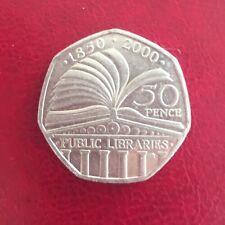 50p Cinquanta Pence Moneta commemorativa biblioteche pubbliche LEGGE RARO 2000 ANNO