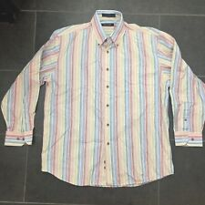 Pierre Cardin Mens Size Large Rainbow Striped Button Down Dress Shirt