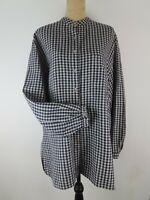 SPENCER TYLER Womens Shirt XL Blue Gray Gingham Linen Check Long Sleeve