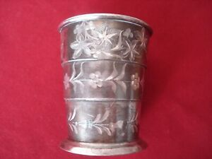 VINTAGE 2 antique heavy Supply Cups Metal Cups hotel silver Cup around 1920 punched Silver plated Patina shabby chic sunshi brocante ancient
