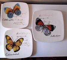 "Opificio Etico Ceramic Butterfly Plates (3) made in Italy ~ 10.5"" =1, 9"" = 2"