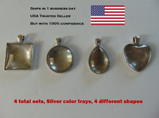 Set of 4 Blank Cabochon Setting Bezel Trays and Glass DIY Jewelry Silver NEW