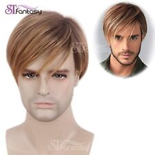 Mens Wig Ombre Blonde Brown Short Straight Layered Synthetic Hair for Male Guy